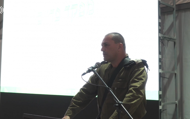 Southern Command chief Maj. Gen. Eyal Zamir speaks to officers in southern Israel on May 30, 2018. (Screen capture: Israel Defense Forces)