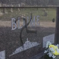 A tombstone vandalized with a swastika at Sunset Hill Cemetery in Glen Carbon, Illinois, on May 27, 2018. (Screen capture: CBS News)