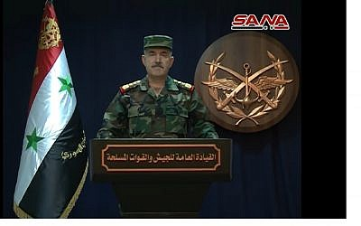 Screen capture from video of Syrian Arab Army Brig. Gen. Ali Mayhoub talking about Israeli airstrikes on Syria, May 10, 2018. (YouTube)