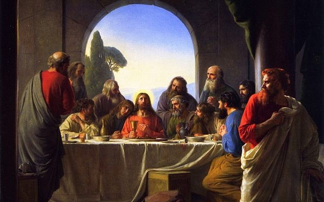 Judas Iscariot (right), retiring from the Last Supper, in painting by Carl Bloch, late 19th century (public domain, via wikipedia)