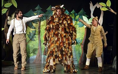 The cast of the Arabic-language production of 'The Gruffalo,' or 'Al Gharfoul,' produced by the Orna Porat Theater for Children and Youth together with the Elmina theater in Jaffa. (Courtesy)