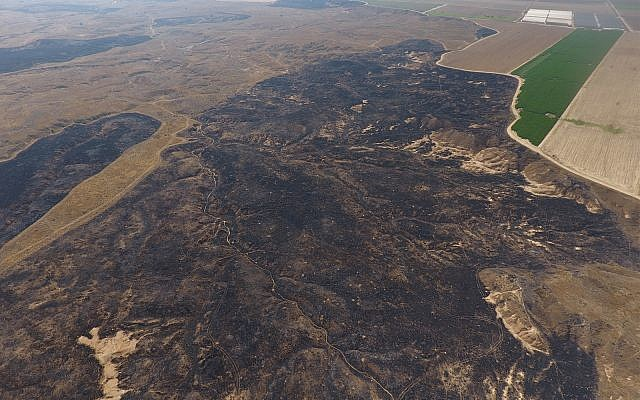 Drone images show the massive destruction caused by fire kites to the Be'eri Nature Reserve, adjacent to Gaza. (Credit: DRONEIMAGEBANK)