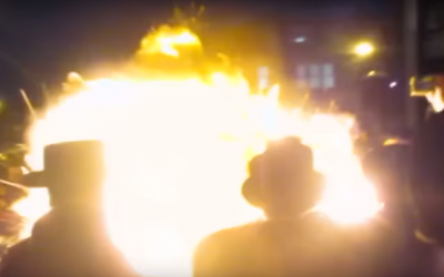 An explosion at a Lag B'Omer bonfire in Stamford Hill, London, on May 2, 2018. (Screen capture: YouTube)