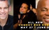 The latest three American comics to appear in Israel for a Comedy for Koby show, with Moody McCarthy (left), Jessica Kirson and Alonzo Bodden (Courtesy Comedy for Koby)