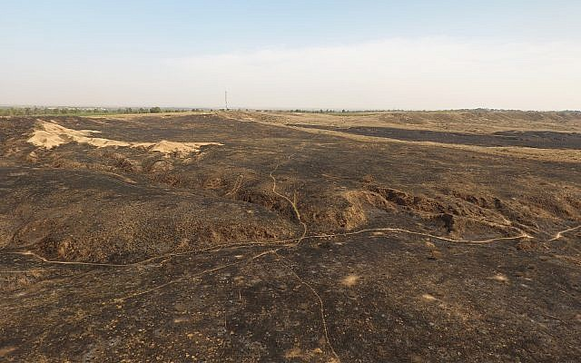 Drone images show the massive destruction caused by fire kites to the Be'eri Nature Reserve, adjacent to Gaza. (DRONEIMAGEBANK)