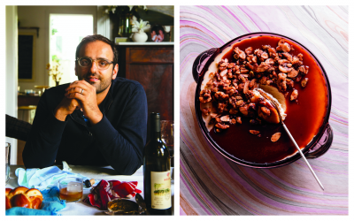 Chef Alon Shaya; (Rush Jagoe) Labneh cheesecake with pomegranate caramel and candied nuts. (Penguin Random House)