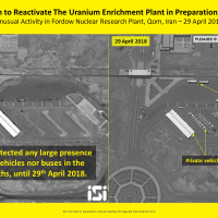 A satellite image from April 29, 2018, showing recent activity at the Fordo nuclear facility in Iran. (ImageSat International ISI)