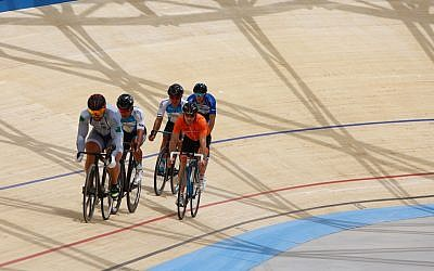 Riders test out the track at the new Tel Aviv velodrome on May 1, 2018. (courtesy Guy Yehiel/Tel Aviv Municipality)