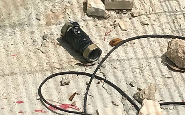 A pipe bomb hurled by Palestinian rioters at a Border Police Base in the West Bank's Etzion Bloc south of Jerusalem on May 9, 2018. (Border Police)