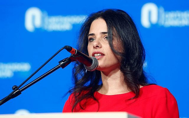 Justice Minister Ayelet Shaked speaks at the Orthodox Union in Jerusalem on May 14, 2018. (Courtesy)