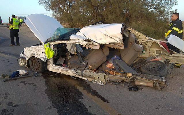 The wreckage of a car that collided with a bus in a fatal accident which killed to occupants of the vehicle on Route 234, May 24, 2018. (Fire and Rescue Services)