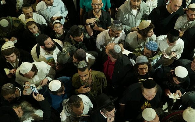 Thousands of worshipers visit Joseph's Tomb near Nablus on May 11, 2018. (IDF)