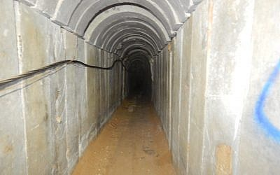 Photo from inside a Hamas terror tunnel which the Israeli military destroyed in air strikes on May 29, 2018. The army said the tunnel extended into Egypt and from there 900 meters into Israeli territory (Courtesy IDF)