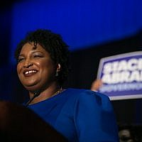 Stacey Abrams at an election night event in Atlanta, May 22, 2018. (Jessica McGowan/Getty Images via JTA)