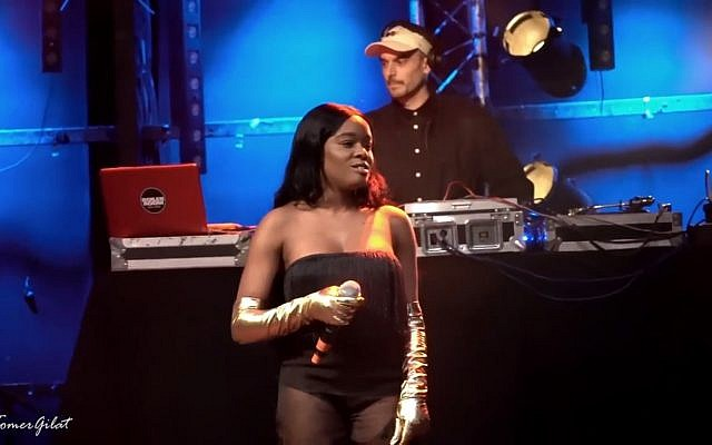 Rapper Azealia Banks in Tel Aviv concert on May 8, 2018. (Screen capture: YouTube)