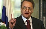 Russia's deputy Foreign Minister Mikhail Bogdanov, speaks with journalists after meeting with Lebanese Foreign Minister Gebran Bassil in Beirut, Lebanon, December 5, 2014. (AP Photo/Hussein Malla)
