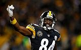Pittsburgh Steelers wide receiver Antonio Brown shown during a game against the Green Bay Packers at Heinz Field in Pittsburgh, on November 26, 2017. (Justin K. Aller/Getty Images via JTA)
