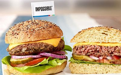 The Impossible Burger has made waves for 'bleeding' like a normal beef patty. (Courtesy of Leo Gong/Impossible Foods via JTA)