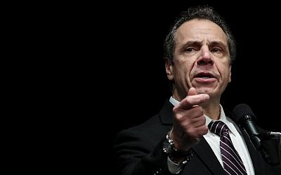 New York Governor Andrew Cuomo speaks at a healthcare union rally at the Theater at Madison Square Garden, February 21, 2018 in New York City. (Photo by Drew Angerer/Getty Images/via JTA)