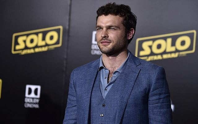 """Alden Ehrenreich attends the Premiere Of Disney Pictures And Lucasfilm's """"Solo: A Star Wars Story"""" - Arrivals on May 10, 2018 in Los Angeles, California.  ( Frazer Harrison/Getty Images via JTA)"""