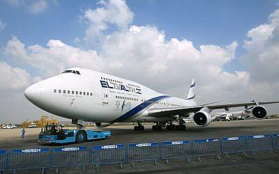 An El Al plane at Ben Gurion airport near Tel Aviv in 2003. (David Silverman/Getty Images/via JTA)