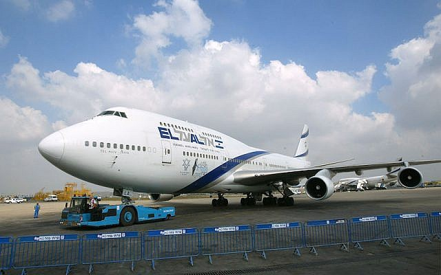 An El Al plane at Ben Gurion airport near Tel Aviv in 2003. (David Silverman/Getty Images/via JTA)
