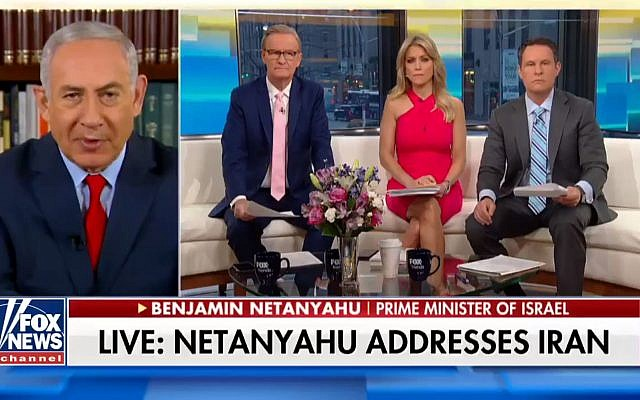 Prime Minister Benjamin Netanyahu in a televised interview on the Fox News channel dealing with the Iranian nuclear archive, May 1, 2018. (screen shot)