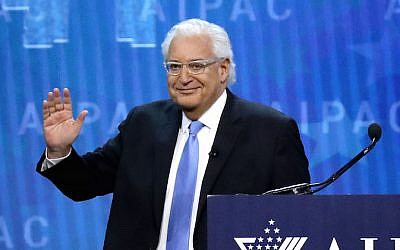 US Ambassador to Israel David Friedman addressing the American Israel Public Affairs Committee's annual policy conference at the Washington Convention Center in Washington, DC, March 6, 2018. (Chip Somodevilla/Getty Images via JTA)