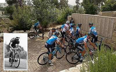 Members of the Israel Cycling Academy team finish the memorial ride at the Garden of the Righteous Among the Nations at Yad Vashem in Jerusalem on May 2, 2018. Insert: Gino Bartali during the 1938 Tour de France, which he won. (Melanie Lidman/Times of Israel, courtesy Wikimedia Commons)