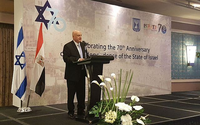David Govrin, Israel's ambassador in Egypt, speaking at a celebration marking the 70th anniversary of Israel at Nile Ritz Carlton hotel in Cairo, May 8, 2018. (Foreign Ministry)