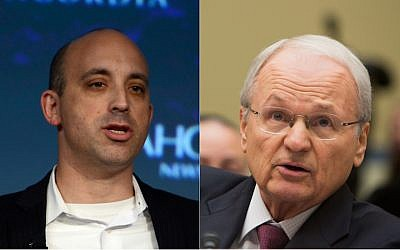 Jonathan Greenblatt, left, is the CEO of the Anti-Defamation League. Morton Klein, right, is the head of the Zionist Organization of America. (Getty Images via JTA)
