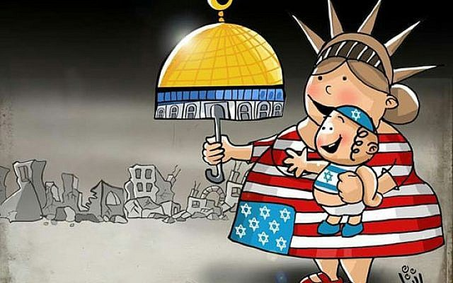 Cartoon with stars marking the 50 states replaced by Stars of David, the US is seen giving Israel the al-Aqsa Mosque in Jerusalem. From al-Yawm as-Sabi, May 15th, 2018, Egypt. (via the Anti-Defamation League)