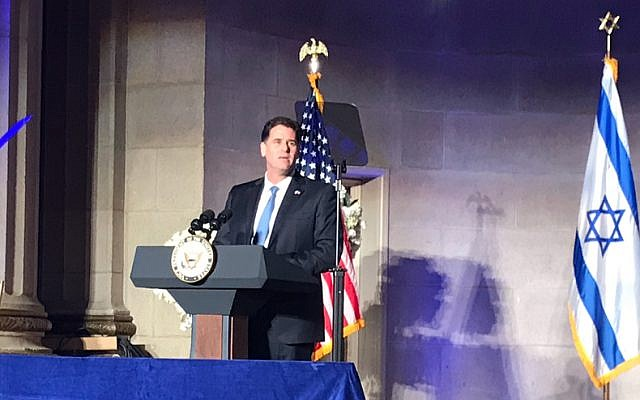 Israel's Ambassador to the US Ron Dermer speaking at an Israeli embassy event on May 14, 2018, in Washington, DC. (Eric Cortellessa/Times of Israel)