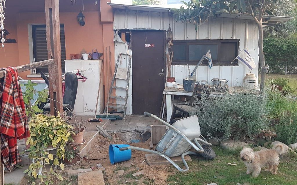 A home in the southern Eshkol region damaged by mortar fire from the Gaza Strip early on May 30, 2018 (courtesy: Eshkol Regional Council)
