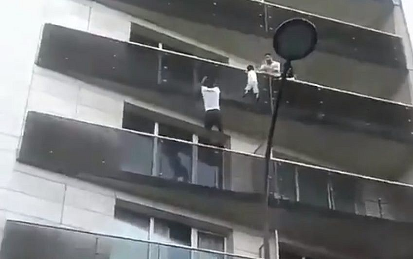 French Child Balcony Rescue