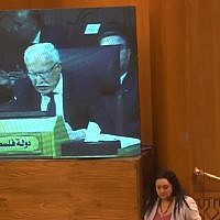 Palestinian Authority Foreign Minister Riyad al-Malki speaks in Cairo in a televised address to the Arab League on May 17, 2018. (Screen capture: YouTube)