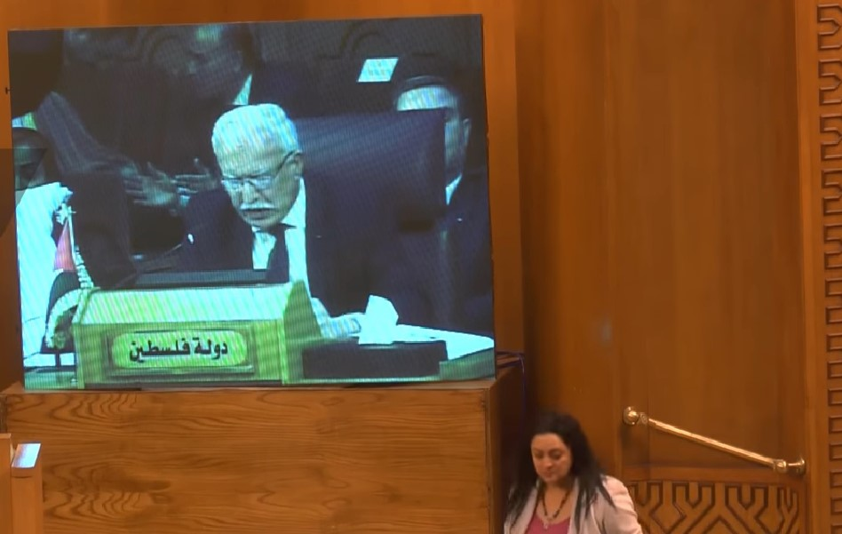 Palestinian Authority Foreign Minister Riyad al Malki speaks in Cairo in a televised address to the Arab League