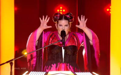 Israel's Netta Barzilai performing 'Toy' in the first Eurovision 2018 semifinal, May 8, 2018. (Screen capture: YouTube)