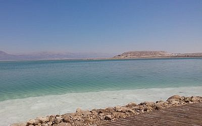 Neve Zohar beach on the Dead Sea, where an 88-year-old woman drowned on May 27, 2018. (Maya Harran: CC-BY-SA-4.0, Wikimedia Commons)