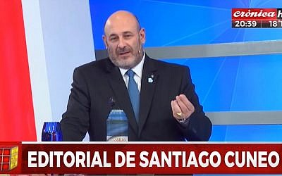 Santiago Cuneo, the former host of Argentia's daily '1+1=3' program seen during a a May 18, 2018 show. (screen capture: YouTube)