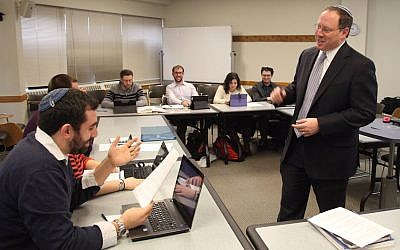 Rabbi Aaron Panken teaching a Talmud Class to Hebrew Union College students. (Courtesy of HUC via JTA)