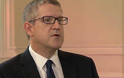 Head of Britain's MI5 Andrew Parker speaks on security threats in October 2017. (Screen capture: YouTube)