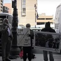 Anti-Israel protesters in Philadelphia holding a rally on April 6. (Screen capture: YouTube)