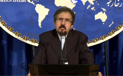 Iran's Foreign Ministry spokesman Bahram Qasemi briefs journalists at a press conference in Tehran on August 22, 2016.  (YouTube screenshot)