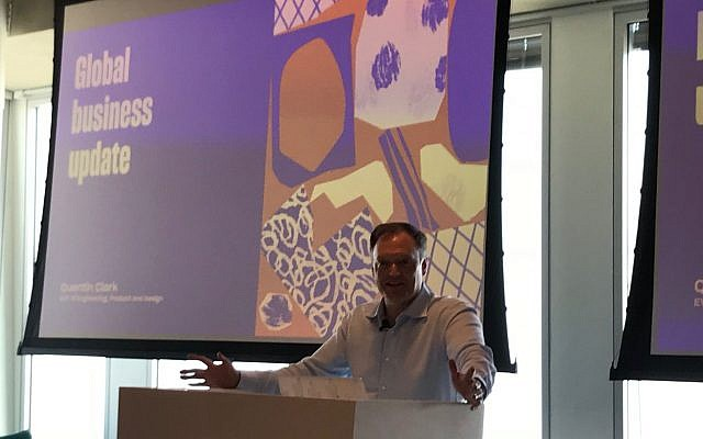 Quentin Clark, who leads the engineering, product and design functions globally for Dropbox, speaks to reporters at the opening of the firm's new R&D offices at the Azrieli Sarona Tower in Tel Aviv; May 15, 2018 (Shoshanna Solomon/Times of Israel)