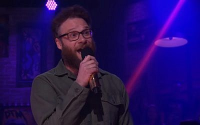 Seth Rogan insults Joseph Gordon-Levitt in 'Drop the Mic' rap battle on April 29, 2018. (Screen capture; YouTube)