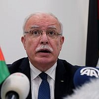 Palestinian Authority Foreign Minister Riad Malki speaks during a press conference at the International Criminal Court on May 22, 2018. (AP Photo/Mike Corder)