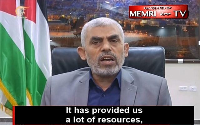 The leader of Hamas in Gaza, Yahya Sinwar, boasts about the terror group's close relations with Iran and Hezbollah, in an interview with Lebanon's al-Mayadeen TV, May 21, 2018. (Middle East Media Research Institute via YouTube)
