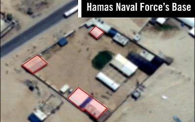 A satellite image showing a suspected Hamas naval force base in the Gaza Strip, which was targeted in an Israeli airstrike on May 29, 2018. (Israel Defense Forces)
