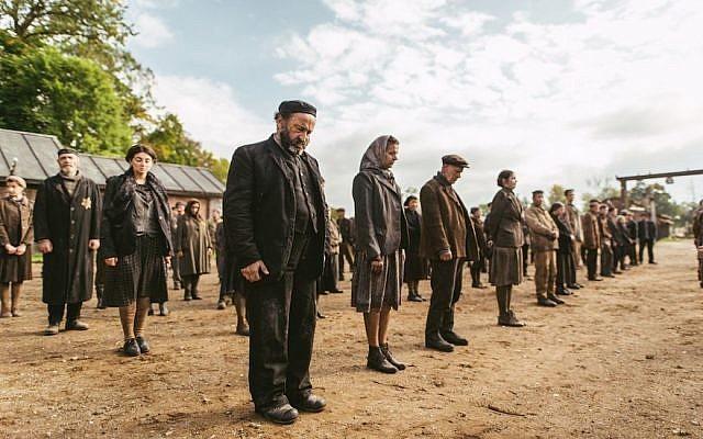 Extras being filmed in Lithuania for 'Sobibor.' (Courtesy of Rosiya Segondiya/via JTA)